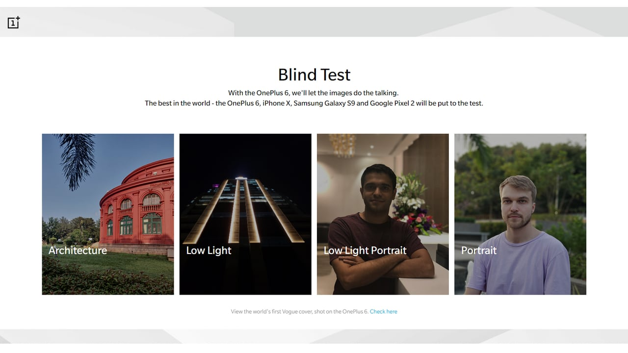The blind camera test hosted on the OnePlus website.