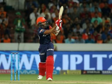 Prithvi Shaw of the Delhi Daredevils plays a shot against Sunrisers Hyderabad. Sportzpics