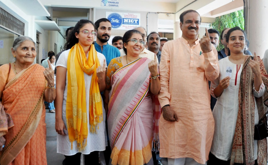 Voters turned up in large numbers and were seen standing in long queues to cast their votes in the early hours. Union minister Ananth Kumar also cast his ballot, along with his family members. PTI