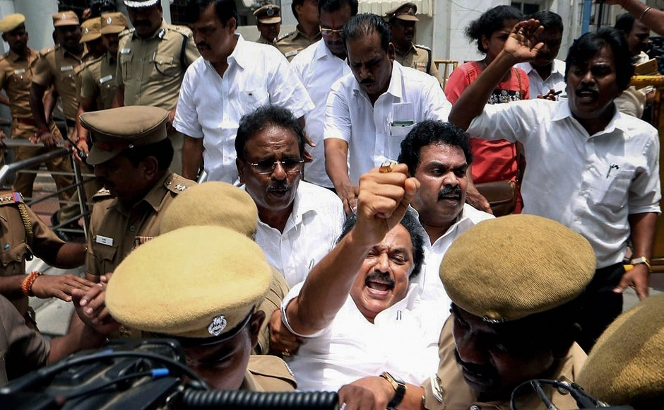 Stalin was detained by police personnel for staging a protest over the anti-Sterlite violence at Tuticorin in which at least 11 people have been killed and scores injured. PTI
