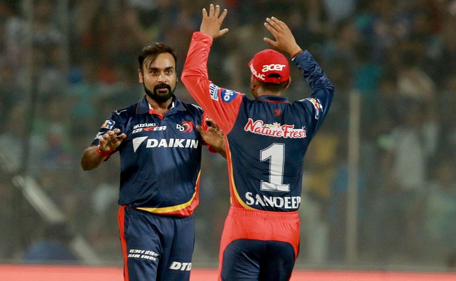 Daredevils' wrist spinning duo of Amit Mishra and Sandeep Lamichhane ripped through MI's batting line up bagging three wickets each. Sportzpics