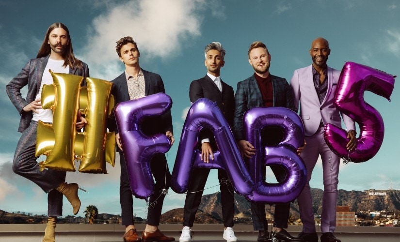 Jonathan Van Ness, Antoni Porowski, Tan France, Bobby Berk, and Karamo Brown from Queer Eye. Image courtesy - Netflix