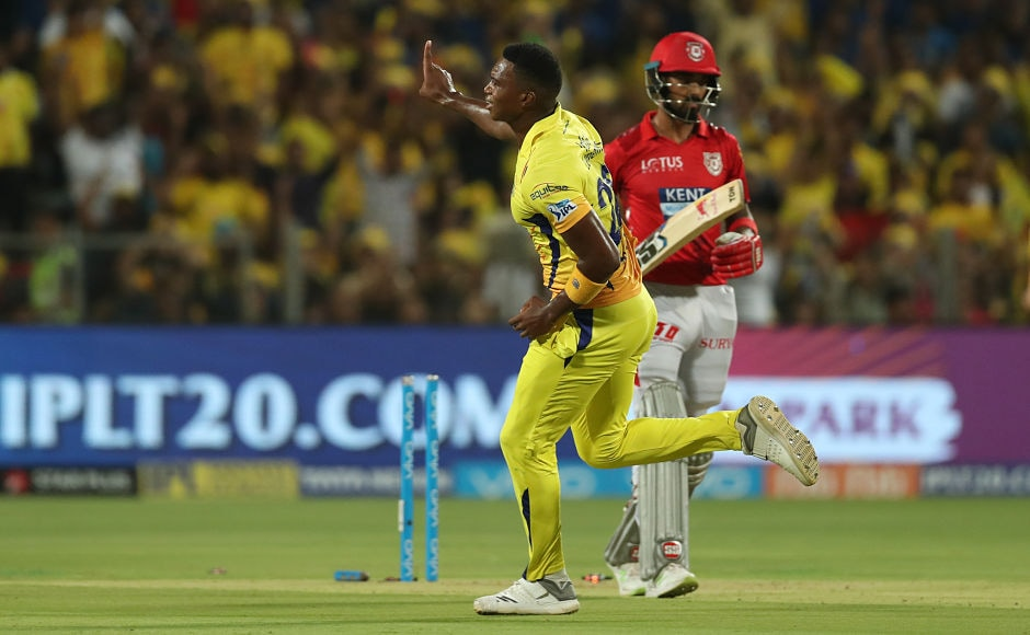 Lungisani Ngidi of the Chennai Super Kings starred with the ball picking four wickets for 10 runs, including KXIP openers, KL Rahul and Chris Gayle Sportzpics