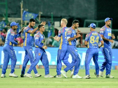 Rajasthan Royals players celebrate their win over Kings XI Punjab. Twitter: @rajasthanroyals