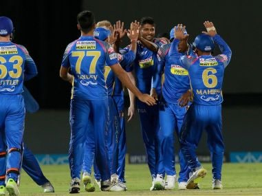 Krishnappa Gowtham of RR celebrates wicket of  Chris Gayle of KXIP. Sportzpics