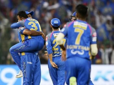 RR's win over RCB on Saturday has kept them in hunt for the lone playoff spot. AFP
