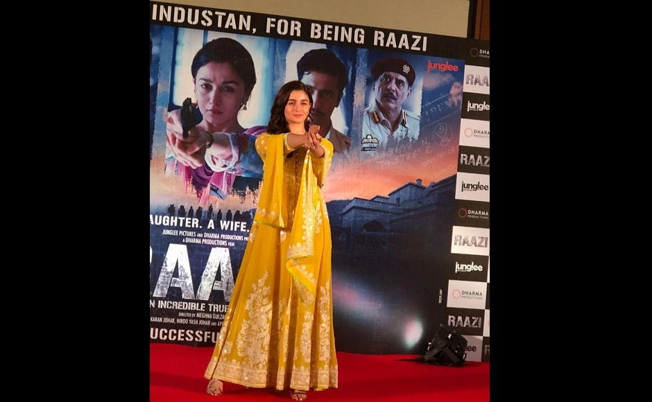 In Meghna Gulzar's Raazi, Alia Bhatt plays Sehmat, a Kashmiri girl who acts as a spy for India after being married to the son (played by Vicky Kaushal) of a Pakistani army general.