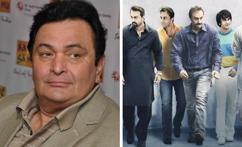 Rishi Kapoor and the poster for Sanju/Image from Twitter.