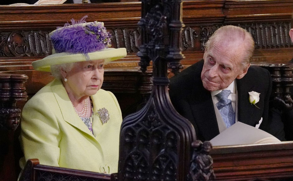 Queen Elizabeth II and Prince Phillip during the wedding service for Prince Harry and Meghan Markle. Reuters