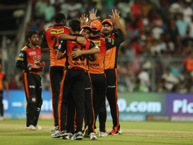 Sunrisers Hyderabad celebrate their win over Kolkata Knight Riders. Sportzpics