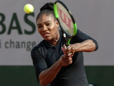 Serena Williams plays ashot during a training session at the Roland Garros stadium. AFP