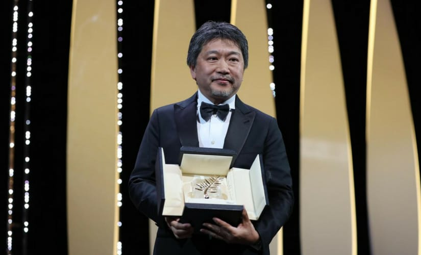 Japanese Director Hirokazu Kore-ed after his Palme d'Or win/Image from Twitter.