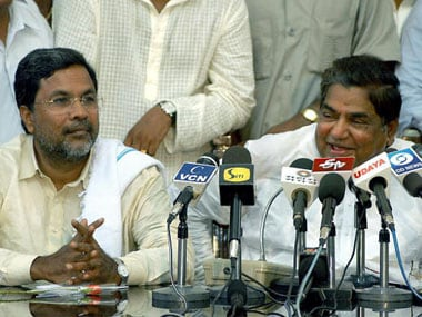File image of Siddaramaiah with former Karnataka chief minister N Dharam Singh. Getty Images
