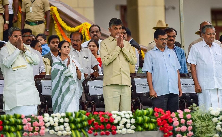 Chandrababu Naidu, Mamata Banerjee, Arvind Kejriwal, Pinarayi Vijayan and Siddaramaiah. PTI