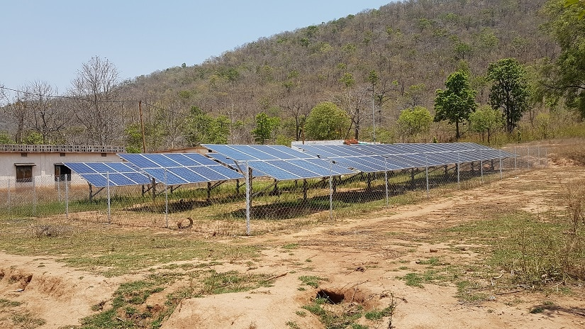 Solar min-grid at the corner of Kholibithar village in Nuapada district Odisha. Image courtesy Manish Kumar