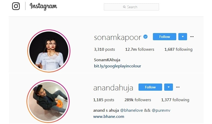 Sonam Kapoor and Annad Ahuja's Instagram handles. Screengrabs