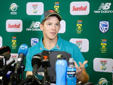 Australia's Tim Paine addresses a press conference. AFP