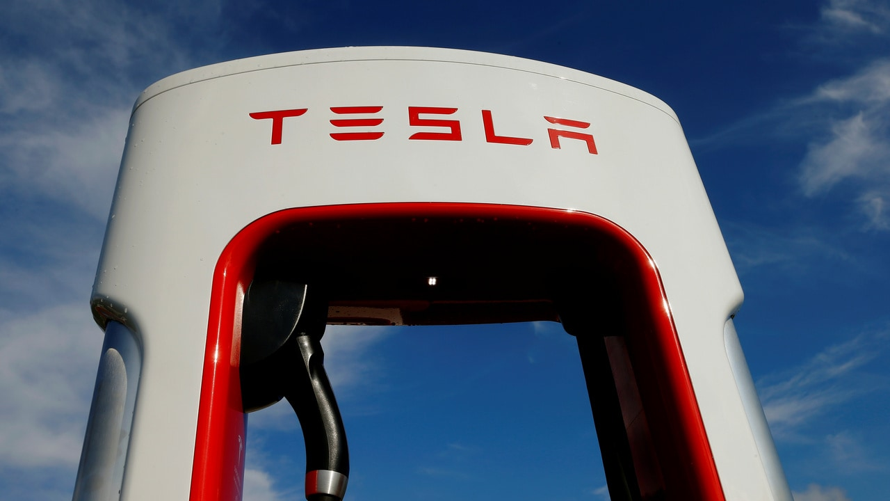 A charging station for electric-powered Tesla cars. Image: Reuters