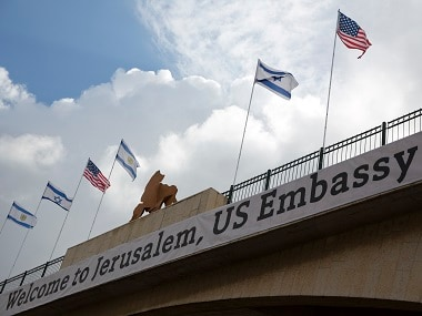 Sign on a bridge leading to the US Embassy in Jerusalem. AP
