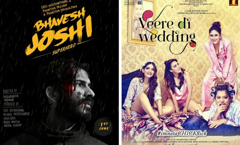 Posters of Bhavesh Joshi Superhero and Veere Di Wedding. Facebook