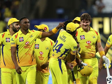 Chennai Superkings players celebrates after winning the Final of the Vivo Indian Premier League 2018 (IPL 2018) between the Chennai Super Kings and the Sunrisers Hyderabad held at the Wankhede Stadium in Mumbai on the 27th May 2018. Photo by: Vipin Pawar /SPORTZPICS for BCCI