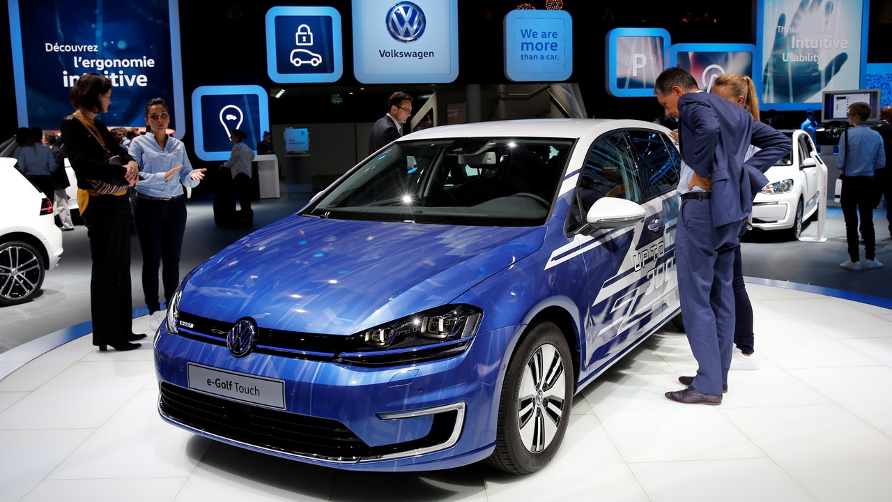 The Volkswagen e-Golf Touch car is displayed on media day at the Paris auto show, in Paris, France. Image: Reuters