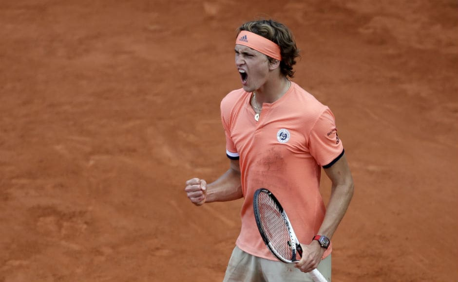 Germany's Alexander Zverev celebrates a winning point as he plays Serbia's Dusan Lajovic during their second-round match. AP