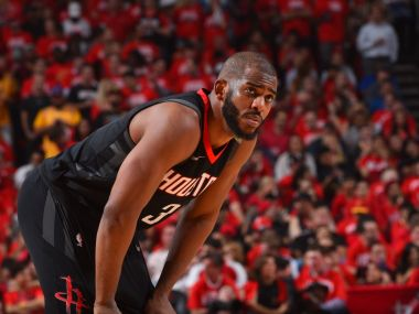 Houston's Chris Paul reacts during Game 5 against the Warriors.