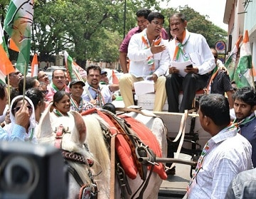 Congress members ride in horse carriages to protest against fuel hike in Goa, demand GST-based taxation of fuel