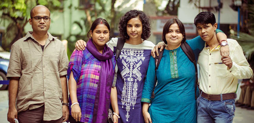 Directors of I am Bonnie with Bonnie and Swati (From left to right: Sourabh, Swati, Farha, Satarupa, and Bonnie). Image courtesy of Nilanjan
