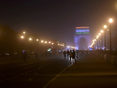 A view of India Gate during a dust storm in New Delhi on late Tuesday. PTI