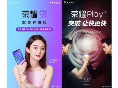 Honor Play and two variants of the Honor 9i smartphone expected to launch on 6 June in China