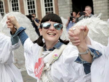 A woman in Ireland celebrates the result of the referendum. Reuters
