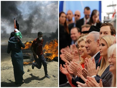 Palestinians protest near the border of Israel and the Gaza Strip (L). On the same day dignitaries, from left, Sara Netanyahu, her husband Israeli Prime Minister Benjamin Netanyahu, Senior White House Advisor Jared Kushner, and U.S. President Donald Trump's daughter, Ivanka Trump, applaud at the opening ceremony of the new U.S. embassy in Jerusalem (R). AP