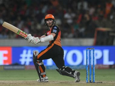SRH captain Kane Williamson plays a shot during the IPL 2018 match against RCB in Hyderabad. AFP