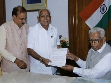 Karnataka governor Vajubhai Vala meets a BJP delegation led by BS Yeddyurappa. Firstpost/101Reporters