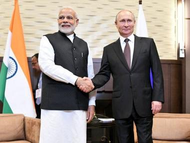 Narendra Modi with Vladimir Putin in Sochi, Russia. Image courtesy: Twitter @MEAIndia