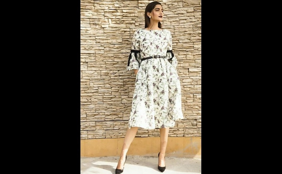 Sonam Kapoor chooses a summery white knee-length dress by Erdem for another promotional event. Image from Instagram/@sonamkapoor