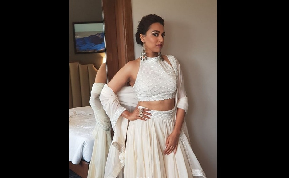 Swara Bhasker goes desi in a plain white lehenga paired with a backless choli for Veere Di Wedding promotions.