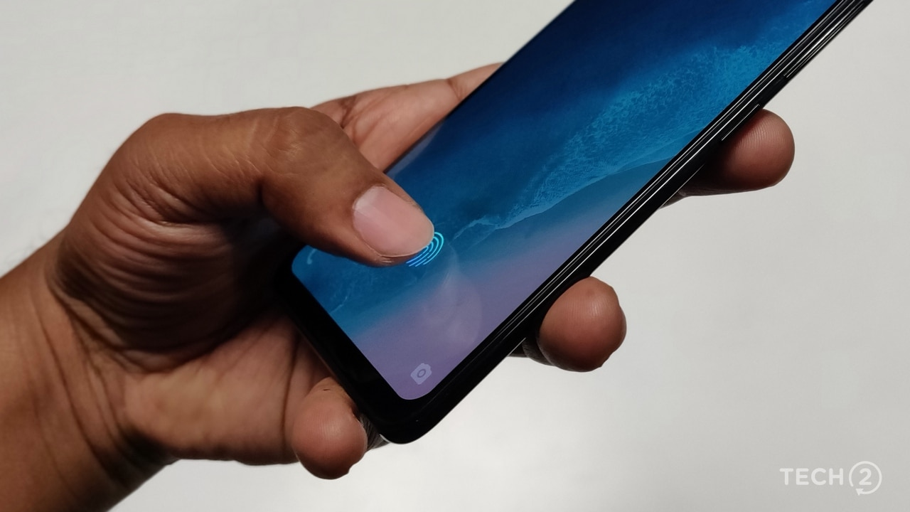 The in-display fingerprint scanner on the Vivo X20 UD. Image: tech2/ Sheldon Pinto