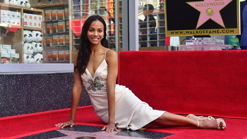 Actress Zoe Saldana poses at her Hollywood Walk of Fame Star ceremony on May 3, 2018 in Hollywood, California. AFP/ Frederic J. BROWN