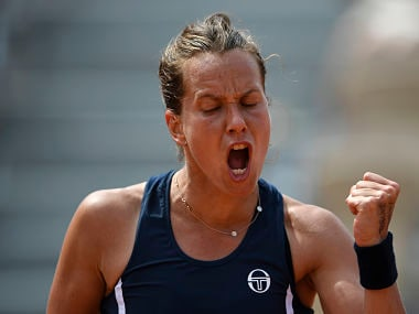 Czech Republic's Barbora Strycova reacts during her women's singles fourth round match against Kazakhstan's Yulia Putintseva on day eight of The Roland Garros 2018 French Open tennis tournament in Paris on June 3, 2018. / AFP PHOTO / Eric FEFERBERG