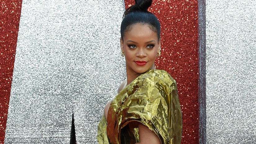 Rihanna poses on the carpet upon arrival to attend he European premiere of the film Ocean's 8 in London on June 13, 2018. AFP/ Anthony Harvey