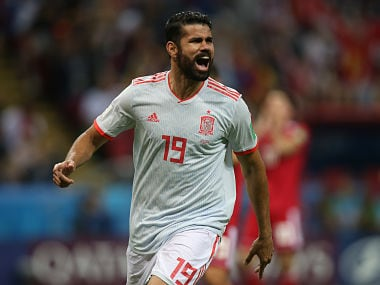 Spain's forward Diego Costa celebrates his goal during the Russia 2018 World Cup Group B football match between Iran and Spain at the Kazan Arena in Kazan on June 20, 2018. / AFP PHOTO / Roman Kruchinin / RESTRICTED TO EDITORIAL USE - NO MOBILE PUSH ALERTS/DOWNLOADS