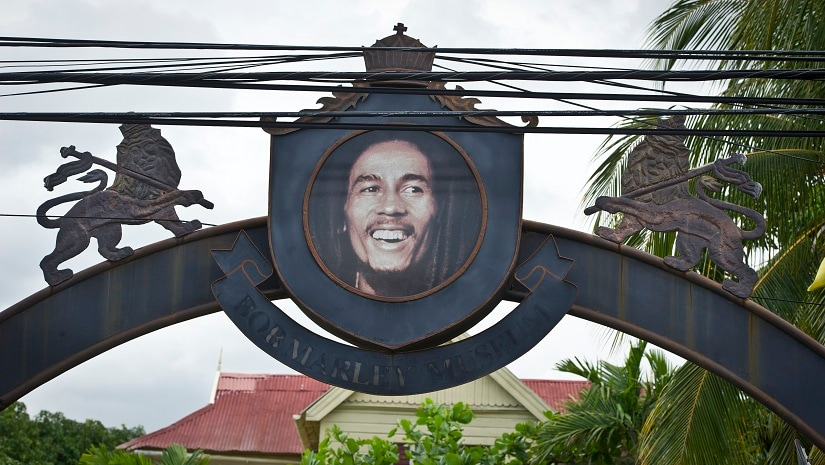 An arch depicting Bob Marley welcomes the visitors his museum in Kingston. AFP