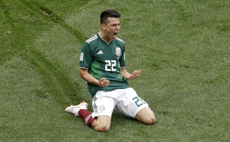 Mexico's Hirving Lozano celebrates after scoring against Germany. AP