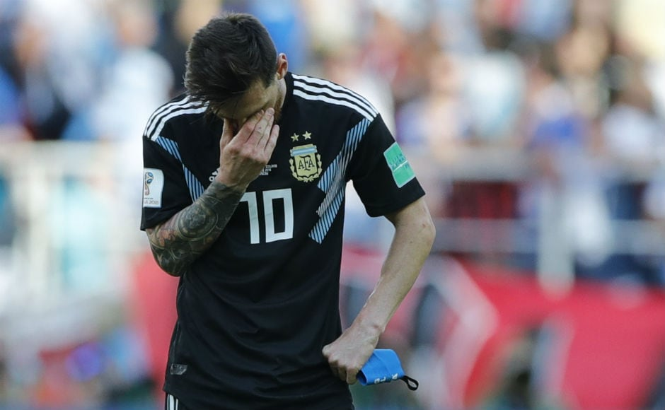 Lionel Messi had a forgettable day against Iceland, missing a penalty. AP