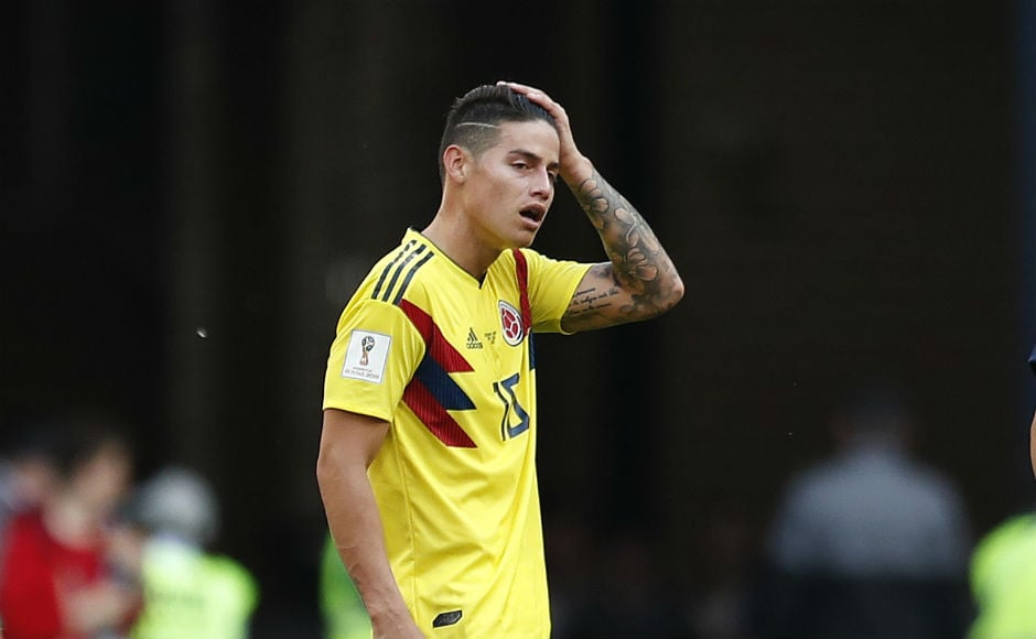 Colombia star James Rodriguez reacts after his team's 1-2 loss at the hands of Japan. AP