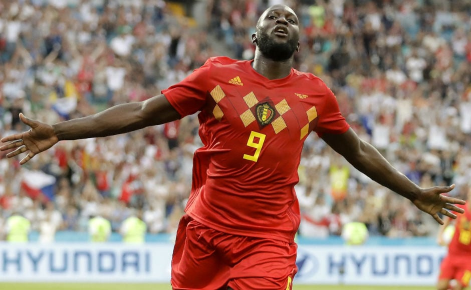 Romelu Lukaku celebrates after scoring Belgium's third goal against Panama. AP