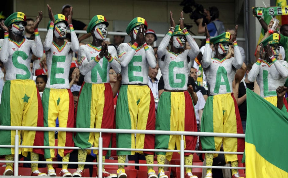 Colourful Senegalese fans cheer for their team in their Group H encounter against Poland at Moscow's Spartak Stadium. AP